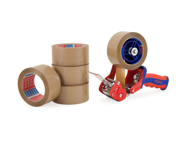 PVC-Packband tesa 4124 + tesa Handabroller COMFORT